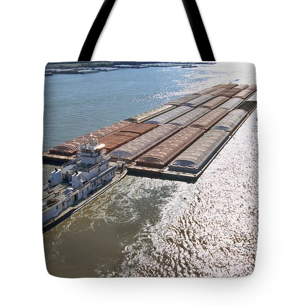 Towboats And Barges On The Mississippi Tote Bag