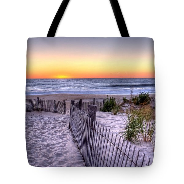 Tower Beach Sunrise Tote Bag