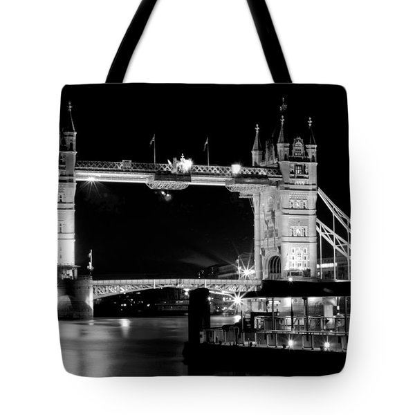 Tote Bag featuring the photograph Tower Bridge At Night by Maj Seda