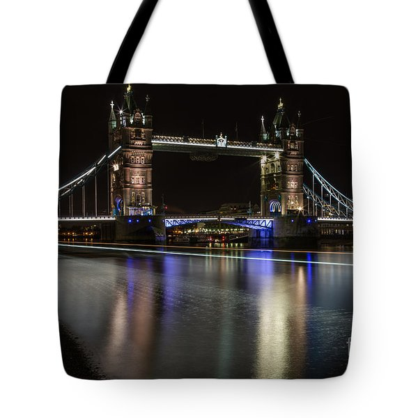 Tower Bridge With Boat Trails Tote Bag