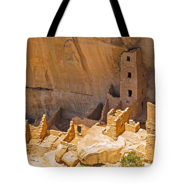 Tower House Panorama In Mesa Verde Tote Bag