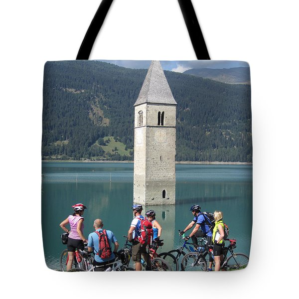 Tower In The Lake Tote Bag by Travel Pics