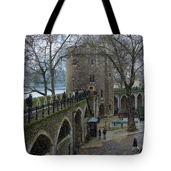 Tote Bag featuring the photograph Tower Of London Plaza by Katie Wing Vigil