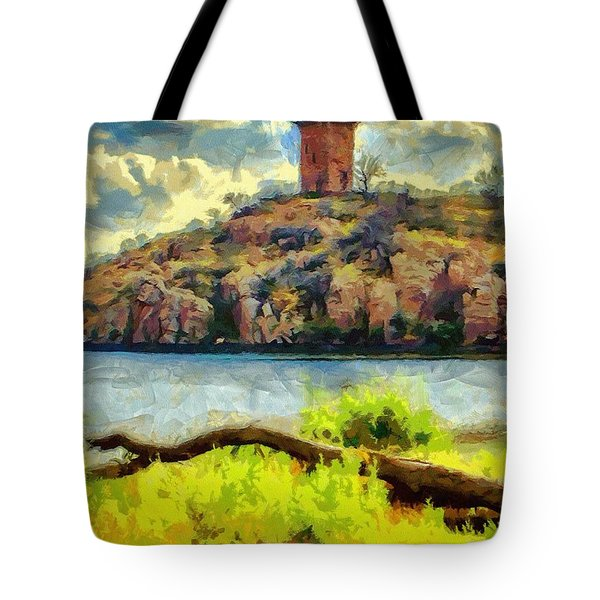 Tower On The Bluff Tote Bag by Jeffrey Kolker