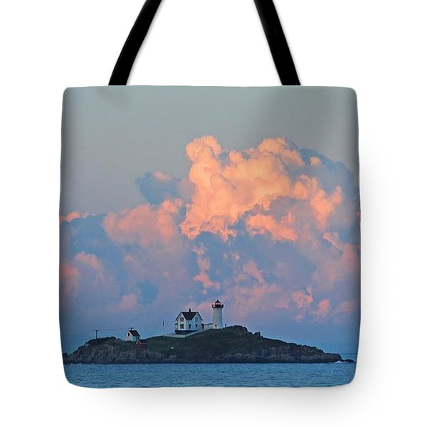 Towering Clouds Over Nubble Lighthouse York Maine Tote Bag