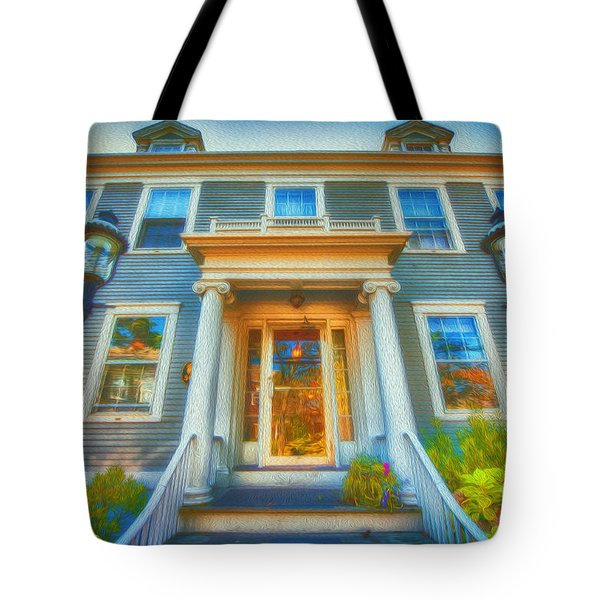 Town House Nantucket And Two Lamps 001 Tote Bag