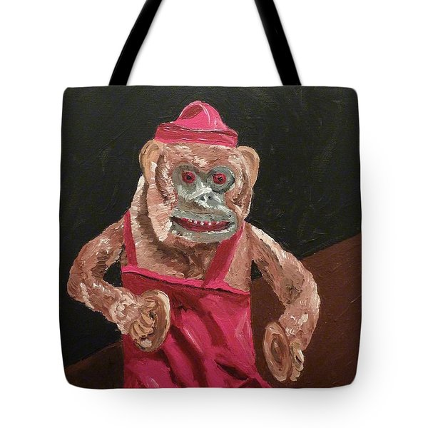 Tote Bag featuring the painting Toy Monkey With Cymbals by Joshua Redman