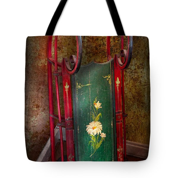 Toy - Sled - Fun Memories With My Sled  Tote Bag by Mike Savad