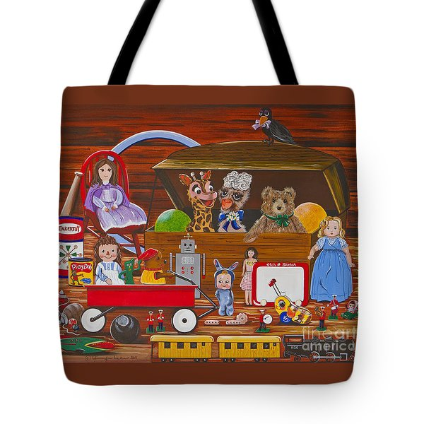 Tote Bag featuring the painting Toys In The Attic by Jennifer Lake