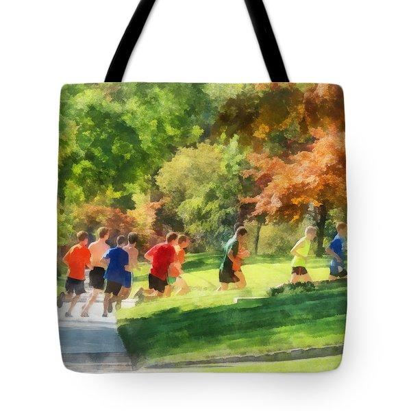 Track Team Tote Bag by Susan Savad