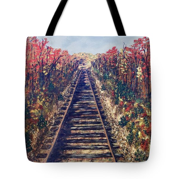 Tote Bag featuring the painting Tracks Remembered by Cynthia Morgan