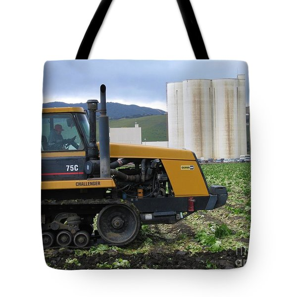 Tote Bag featuring the photograph Tractor At Spreckels by James B Toy