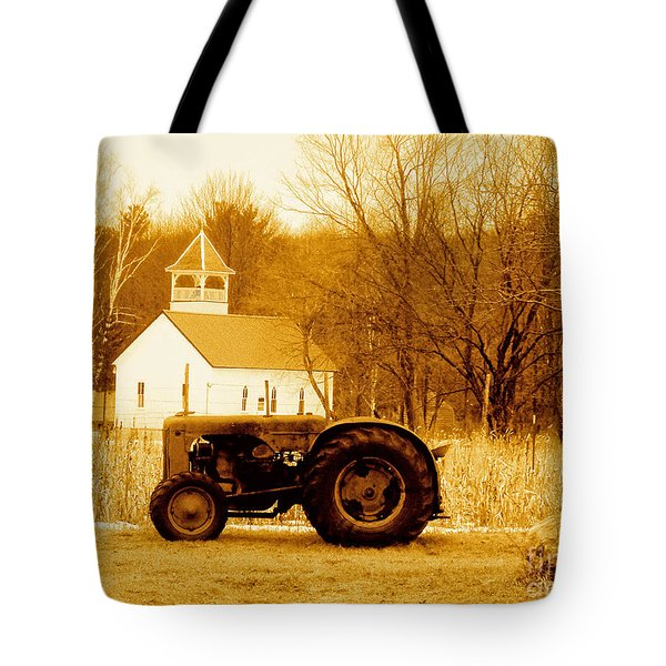 Tractor In The Field Tote Bag