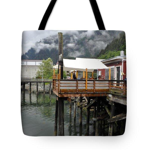 Tracys Crab Shack Tote Bag by Cathy Mahnke