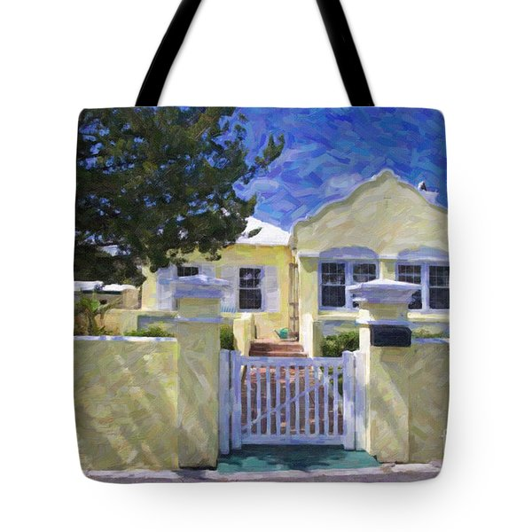 Tote Bag featuring the photograph Traditional Bermuda Home by Verena Matthew
