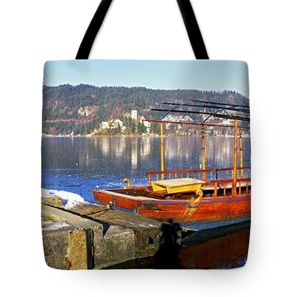 Traditional Boat At The Lake Bled Tote Bag
