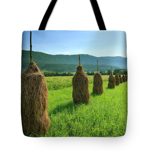 Traditional Haystacks In A Field Tote Bag