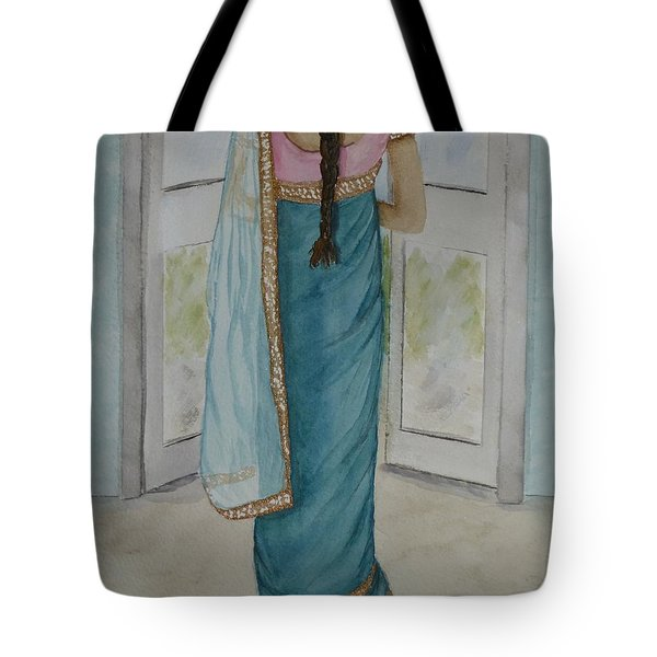 Tote Bag featuring the painting Traditional Sari by Kelly Mills
