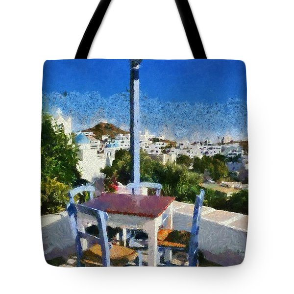 Traditional Tavern In Ios Town Tote Bag