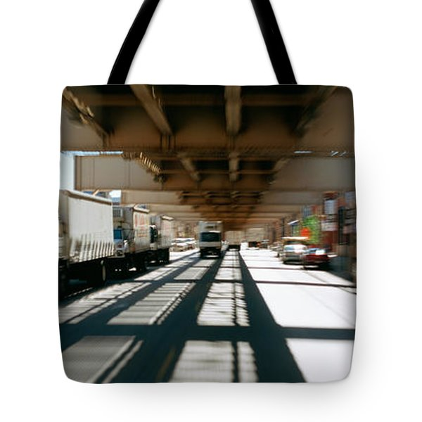Traffic On A Road, Lake Street Tote Bag