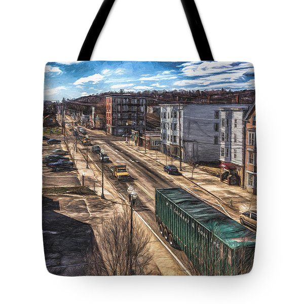 Traffic On Lincoln Street Tote Bag by Bob Orsillo