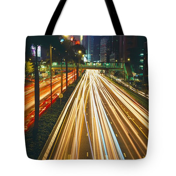 Traffic On The Road, Hong Kong, China Tote Bag by Panoramic Images