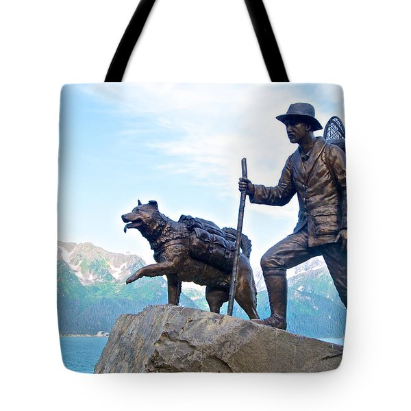 Trail Blazers Sculpture For 2012 Iditarod Beginning At Mile 0 In Seward-ak Tote Bag