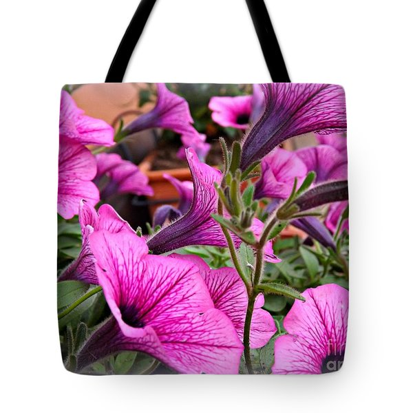 Tote Bag featuring the photograph Trailing Petunias by Clare Bevan
