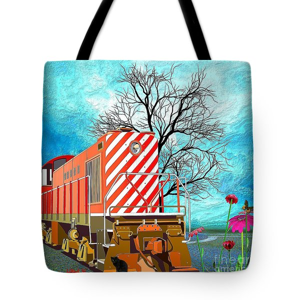 Train - All Aboard - Transportation Tote Bag by Liane Wright