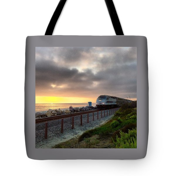 Train And Sunset In San Clemente Tote Bag