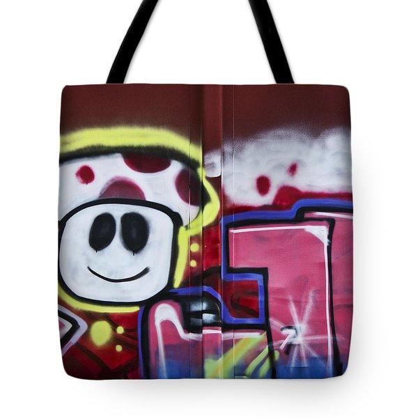 Train Art Cartoon Face Tote Bag by Carol Leigh