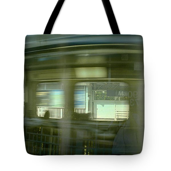 Train At Railroad Station Platform Tote Bag