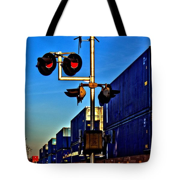 Tote Bag featuring the photograph Train Blue by Tyson Kinnison