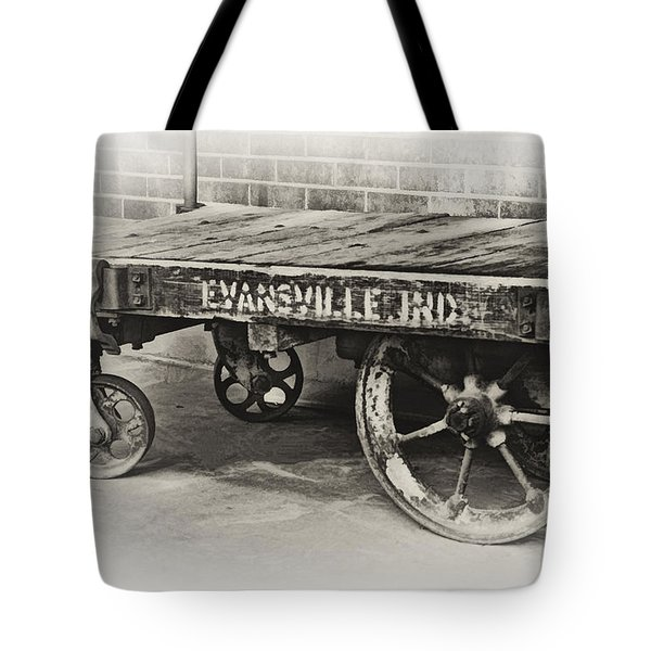 Train Depot Baggage Cart In High Key B/w Tote Bag by Greg Jackson