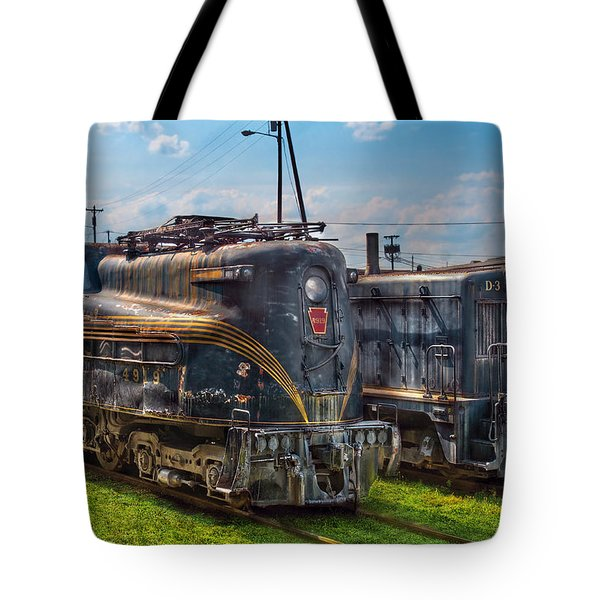 Train - Engine - 4919 - Pennsylvania Railroad Electric Locomotive  4919  Tote Bag by Mike Savad