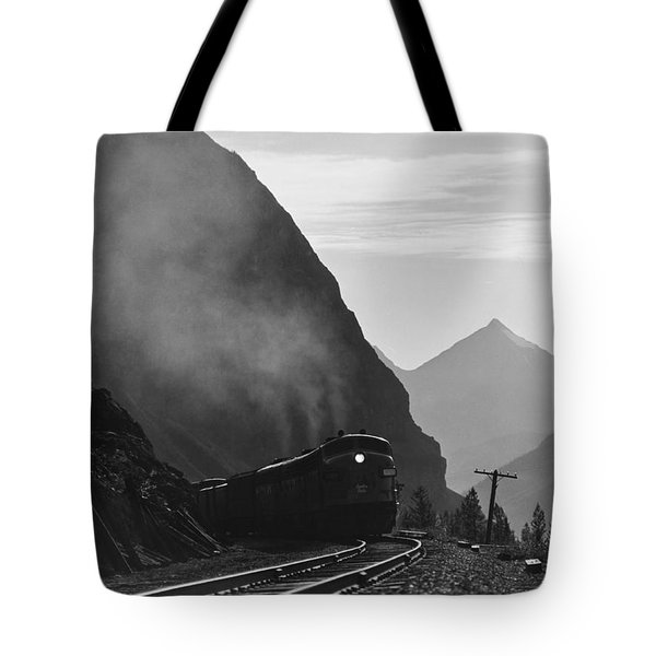 Train In Canadian Rockies Tote Bag