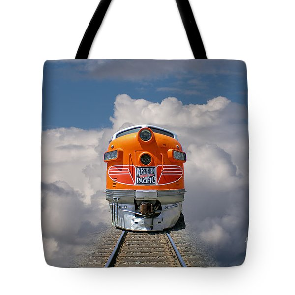 Train In Clouds Tote Bag by Ron Sanford