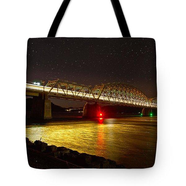 Train Lights In The Night Tote Bag by Miroslava Jurcik