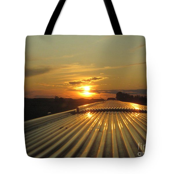 Train Sunset Tote Bag