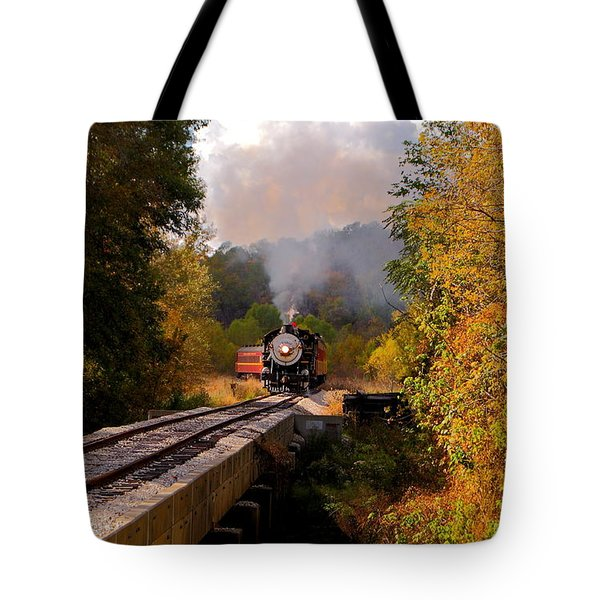 Train Through The Valley Tote Bag