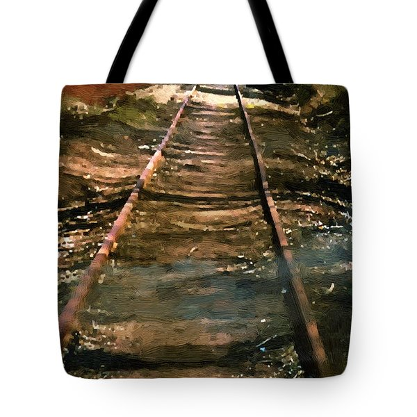 Train Track To Hell Tote Bag by RC deWinter