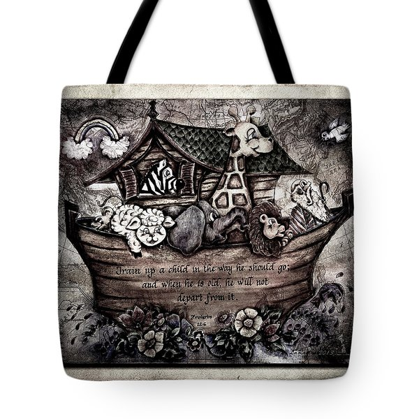 Train Up A Child Muted Tote Bag by La Rae  Roberts