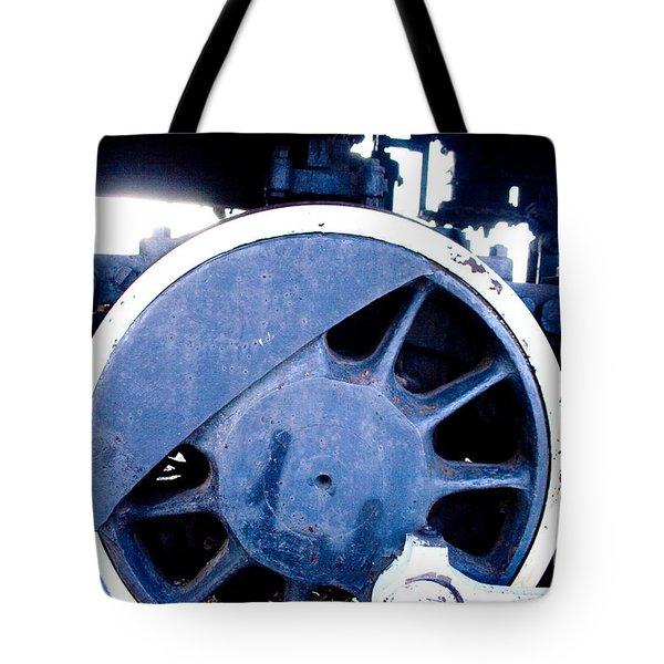 Train Wheel Tote Bag by Thomas Marchessault