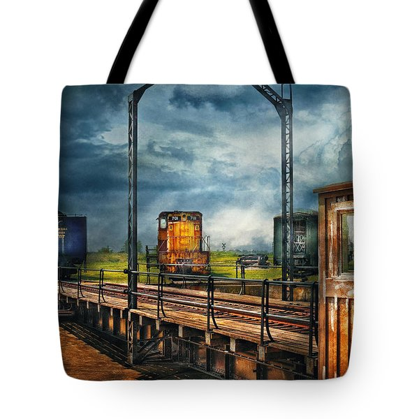 Train - Yard - On The Turntable Tote Bag by Mike Savad