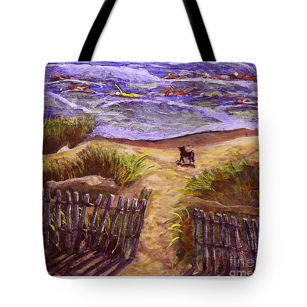 Tote Bag featuring the painting Training For A Triathlon by Rita Brown