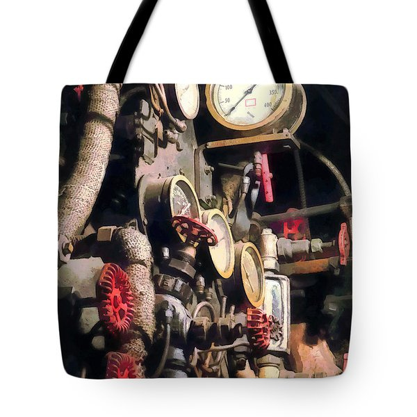Trains - Inside Cab Of Steam Locomotive Tote Bag by Susan Savad