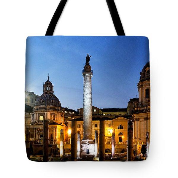 Trajan's Column Tote Bag by Fabrizio Troiani