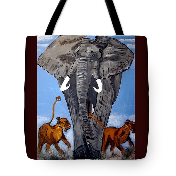 Tote Bag featuring the painting Trampling Elephant by Nora Shepley