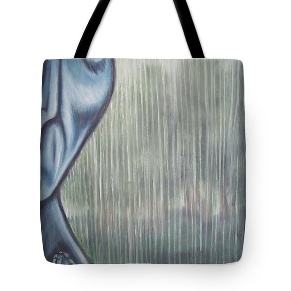 Tote Bag featuring the painting Tranquil Rain by Michael  TMAD Finney