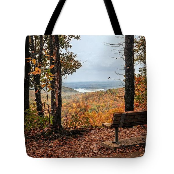 Tote Bag featuring the photograph Tranquility Bench In Great Smoky Mountains by Debbie Green